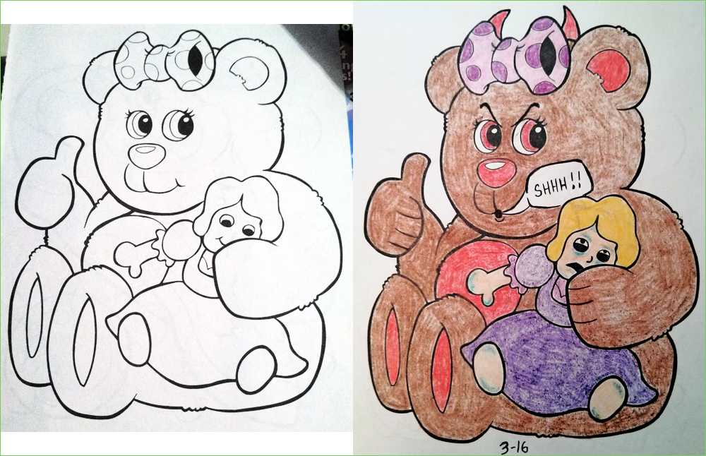 Coloring Book Corruptions And Demented Drawings